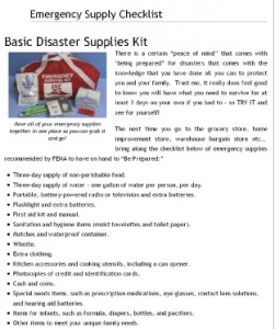 California Living® Emergency Kit Supply Checklist