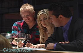 Food & Wine Enthusiasts Damon Calegari (right) and Tyler Ash take in a class at the Culinary Instititute of America, Napa Valley, CA, with California Living host Aprilanne Hurley.