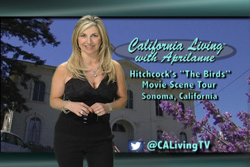 "California Living ® host Aprilanne Hurley on-location at the Potter Schoolhouse in Bodega, California - made famous by Hitchcock's 1960's thriller ""The Birds""."
