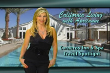 CALIFORNIA LIVING® host and Party Girl Diet™ author Aprilanne Hurley on location at the Carneros Inn & Span, Napa Valley, California