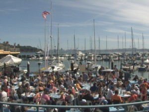 "The waterfront deck at ""sams tiburon"" is the place to be and be seen."