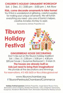 California Living ® invites you to enjoy family fun including gingerbread house decorating during the 2015 Tiburon Holiday Festival.
